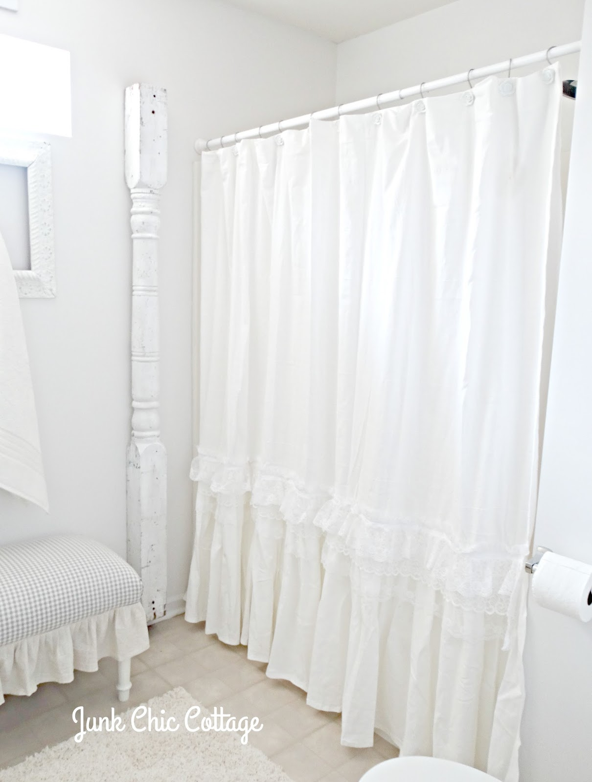 junk chic cottage ruffles repurposed shower curtains shout out lol i just noticed in this picture that i took off the vintage hanger hook i had on the old post i painted it and forgot to put it back up before