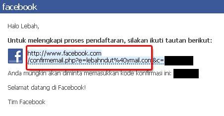 Verifikasi Email Pembuatan Akun FB