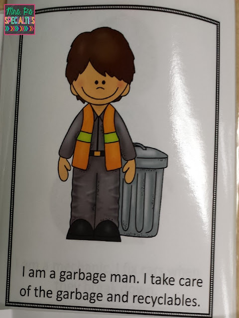 Photo of one of the pages in the book on community helpers. The page has a picture of a garbage man and text that labels the picture.
