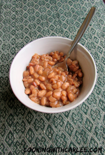 bowl of blond baked beans ready to eat