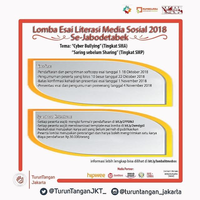 Lomba Esai Literasi Media Sosial 2018 Se-Jabodetabek