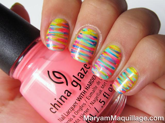 "Maryam Maquillage: Neon ""Painterly Stripes"" Nail Art"
