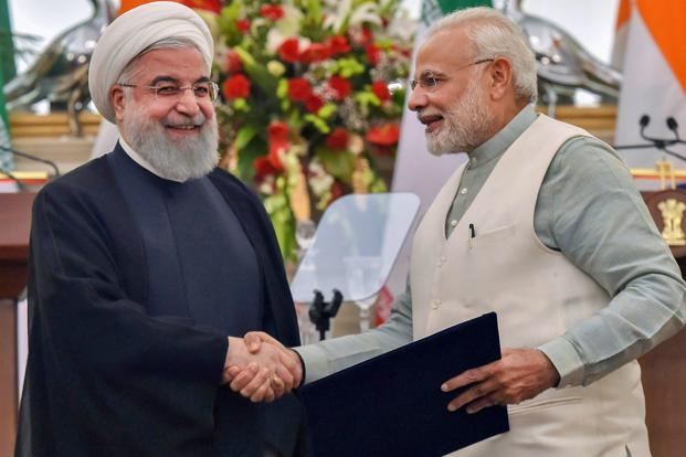 Image Attribute: Prime Minister Narendra Modi with Iranian President Hassan Rouhani at Hyderabad House in New Delhi on Saturday / Source: PTI