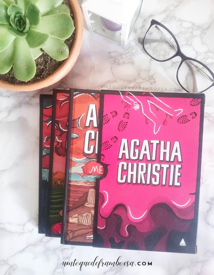 Caixa 02 da coleção Agatha Christie com os 3 livros