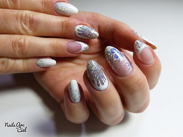 Nail Art givré - Stalactites et fleur en aquarelle par Nails Arc en Ciel
