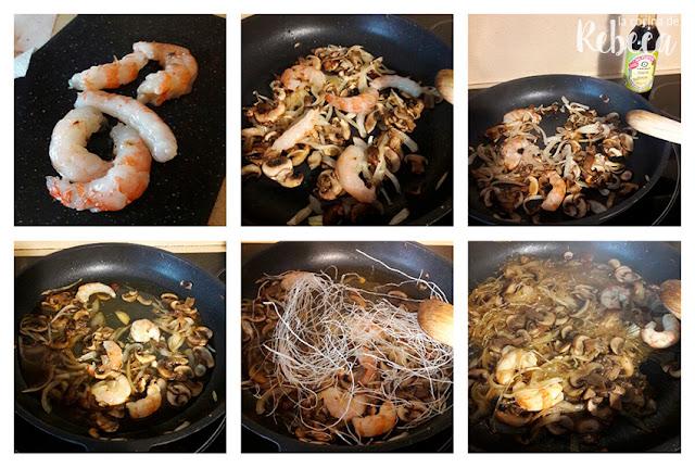 Receta de glass noodles con champiñones y gambones 02