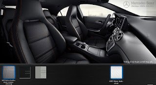 Nội thất Mercedes CLA 200 2015 màu Đen/chỉ màu Cam 363