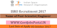 Indian Space Research Organization Recruitment 2017– 80 Scientist/Engineer