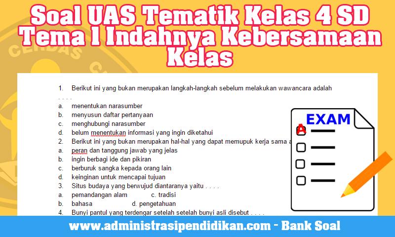 Soal UAS Tematik Kelas 4 SD Tema 1 Indahnya Kebersamaan Kelas
