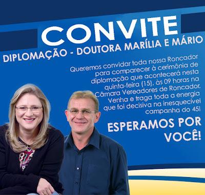 Roncador: Prefeita reeleita, Dra  Marília, convida população para Diplomação dos eleitos em outubro