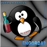 Ilustração mostrando um pinguim gordinho, segurando uma garrafa, com a barriga indicando um nível elevado de álcool e se perguntando se a bebida alcoólica engorda.