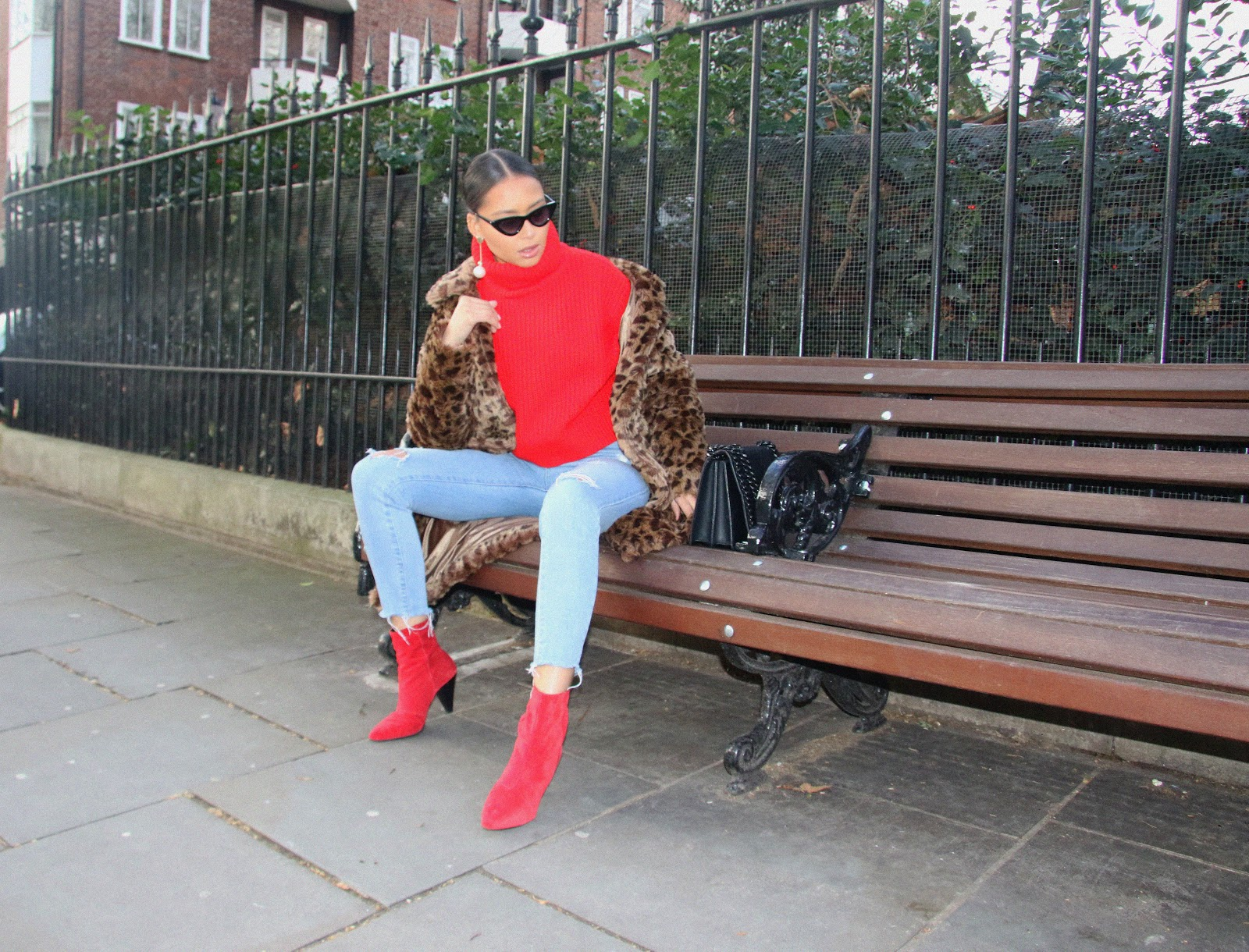 red boots, newlook, lolashoetique, denim, leopard print coat