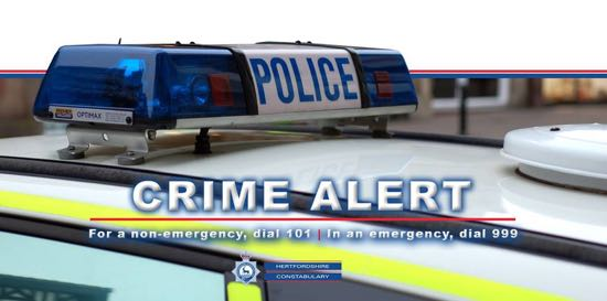 Photograph of Herts police crime alert image