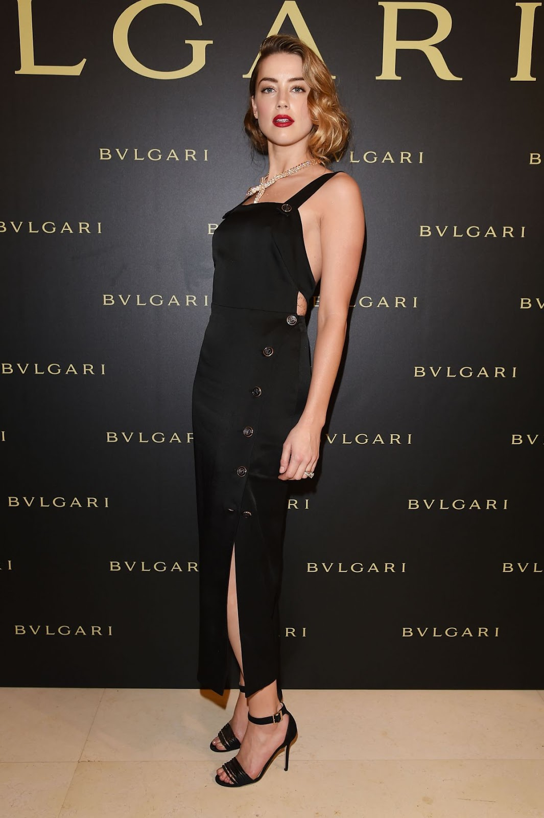 Full HQ Photos of Amber Heard in Black dress At Bulgari Haute Couture Cocktail Party In Paris