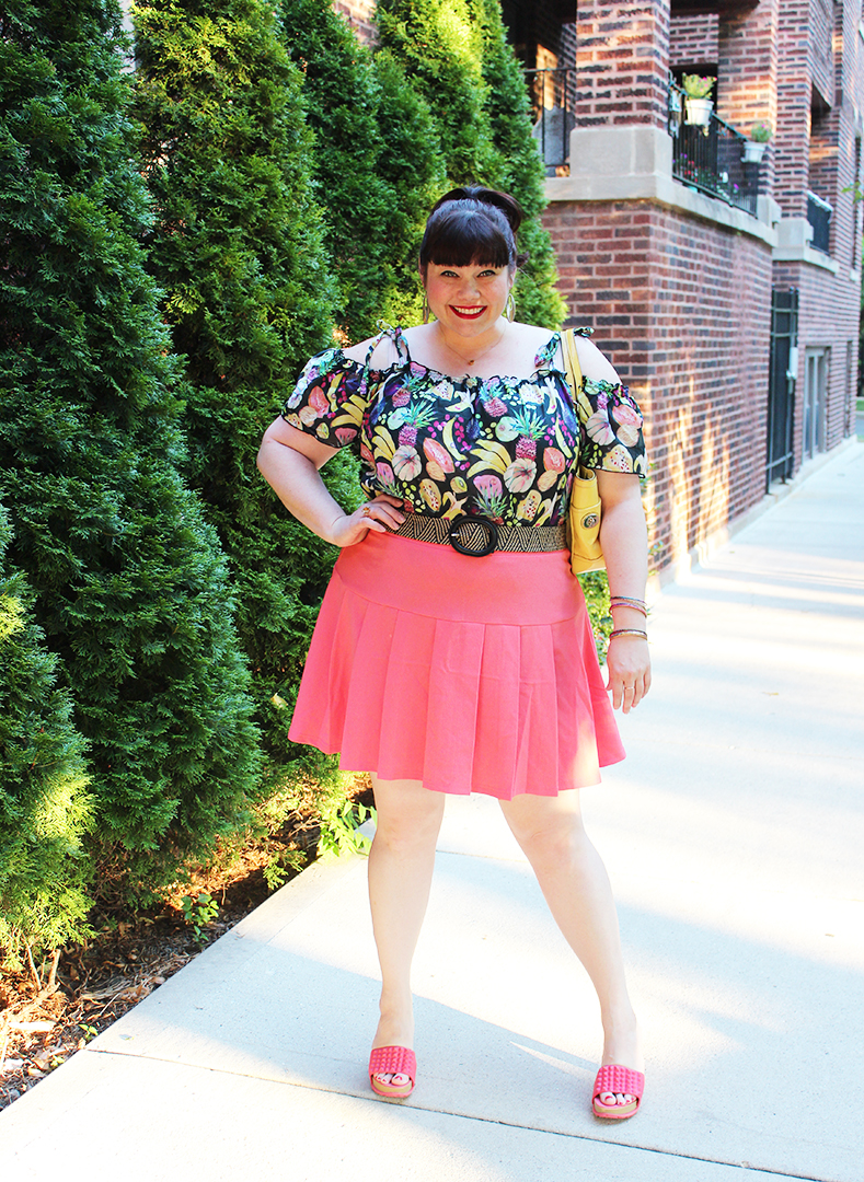 Plus Size Blogger Amber from Style Plus Curves in Rachel Antonoff and Gwynnie Bee Fruit Top