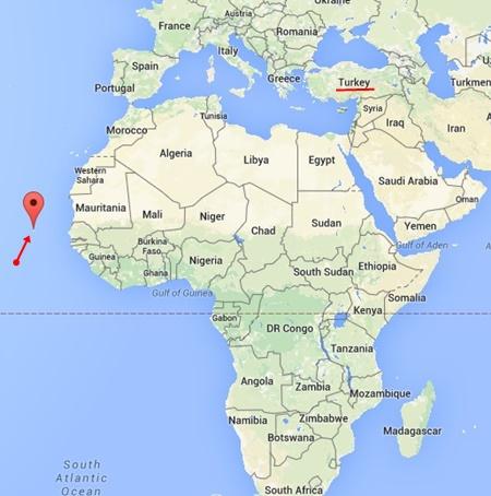 Cabo Verde'nin Dünya Haritasındaki Yeri