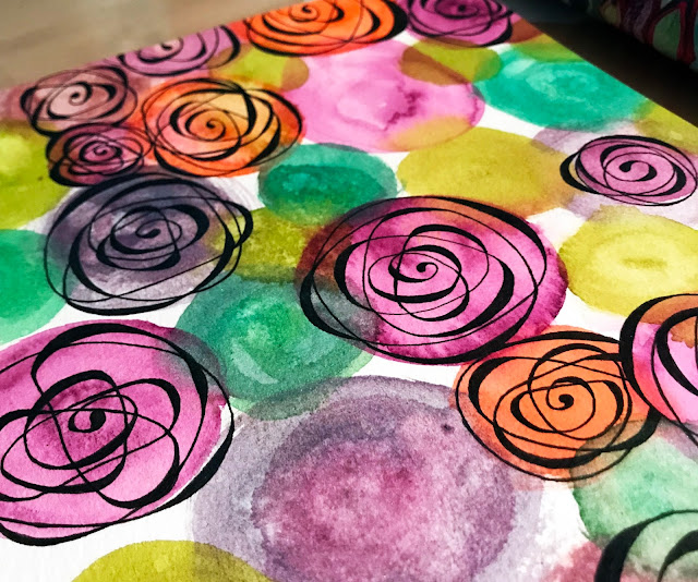 Cézanne Mould-Made watercolor paper with Daniel Smith watercolor roses close-up