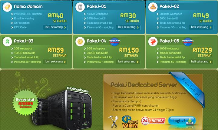 Senarai Pakej Domain Hosting Murah Syokhost