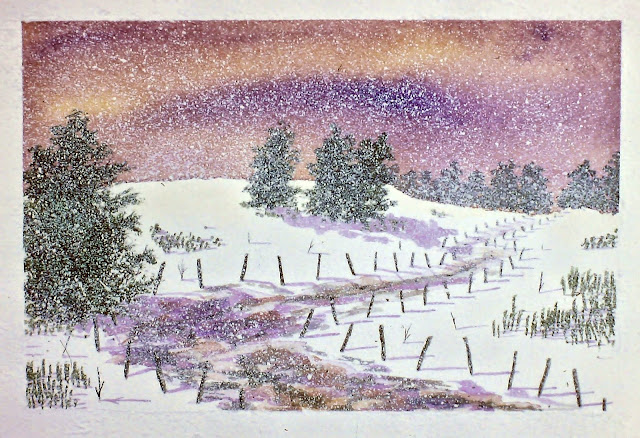 """""""Northern Lights, Back Road, near Little Keithock Farmhouse, Angus, Scotland."""" 30x36 inches. Watercolor on Paper. In a private collection in Banff, Scotland."""