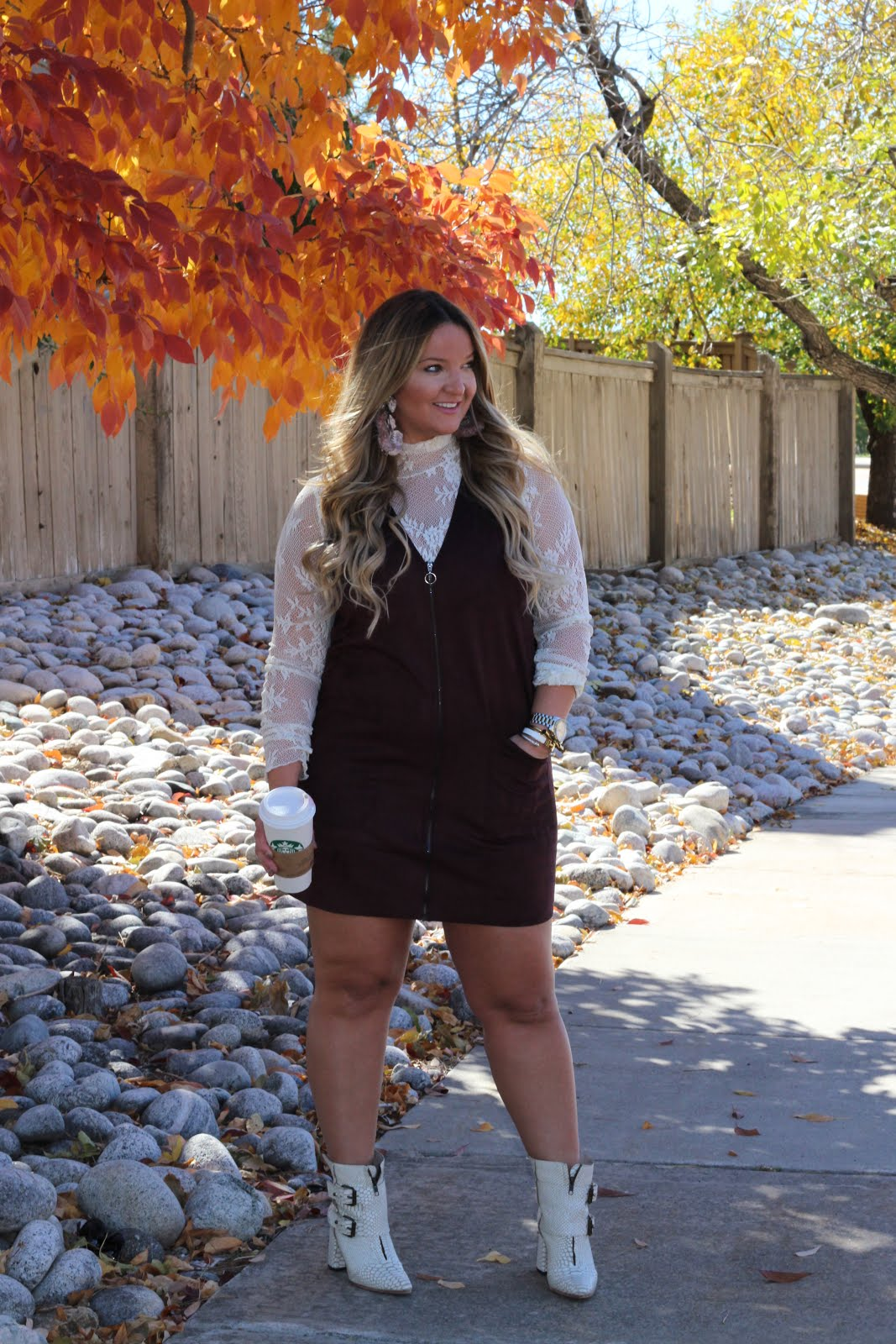 Brown Velvet Dress, Wine, & White  by Colorado fashion blogger Delayna Denaye