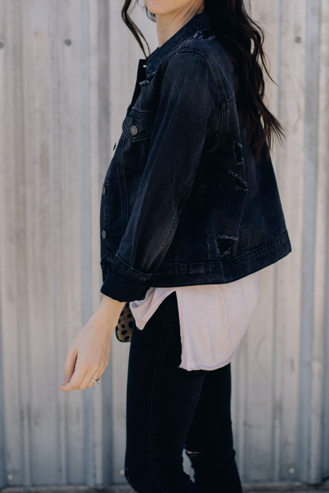 Black distressed denim jacket and basic slide slit tee