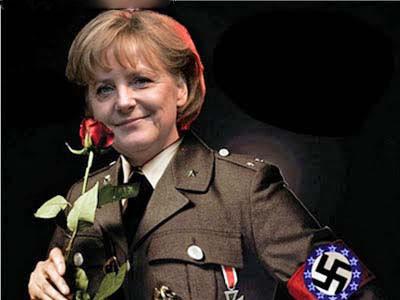 Griechenland Krise witzig - Angela Merkel als Nazi dargestellt