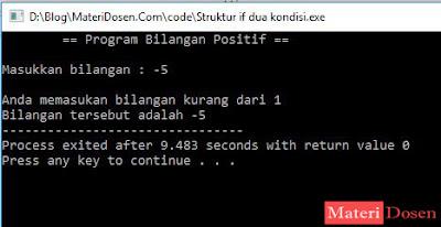 Contoh Program I dengan Struktur If Dua Kondisi