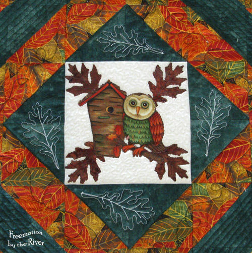 Closeup of owl applique and freemotion quilting