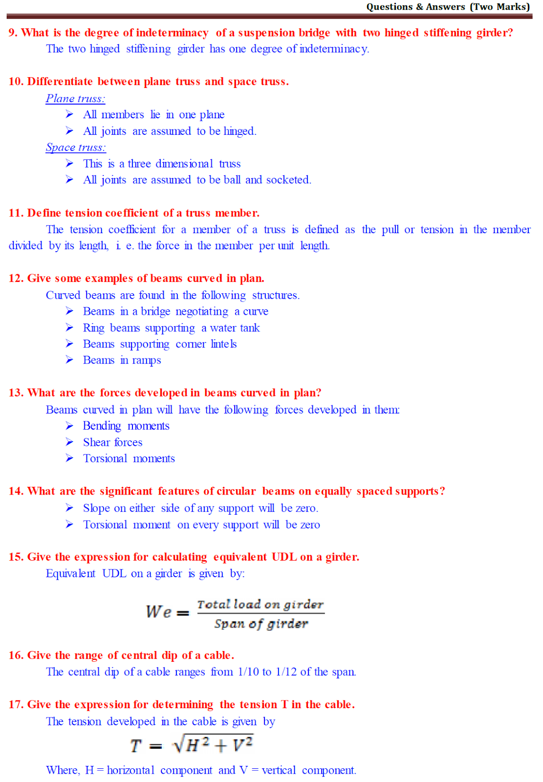 CE2351 Structural Analysis - II : 02 marks questions with