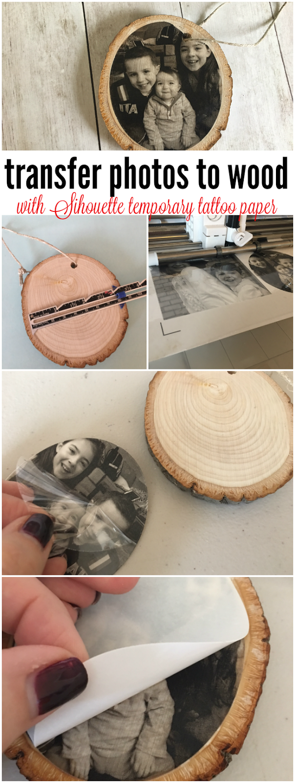 Transferring photos to wood with silhouette temporary for Tattoo transfer paper