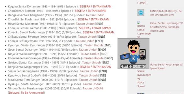Download Super Sentai Batch Terlengkap bahasa Indonesia