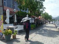 日傘を差しながら歩く後ろ姿の友人女性