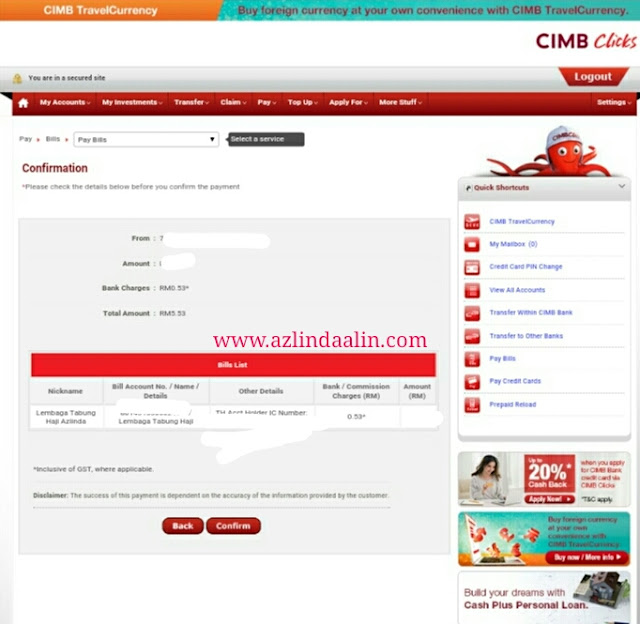 CARA-CARA TRANSFER DUIT DARI CIMB CLICKS KE TABUNG HAJI