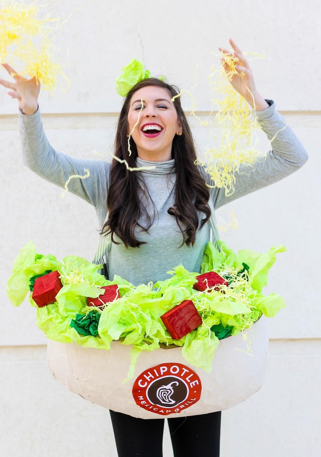 Chipotle Halloween costume, Chipotle bowl costume, Chipotle burrito costume, Halloween Costume Idea, Best Halloween Costume, Best DIY Halloween Costume, Creative Halloween Costume, Pretty in the Pines Halloween Costume