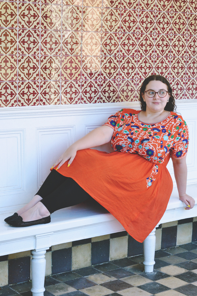 Plus size orange folk dress