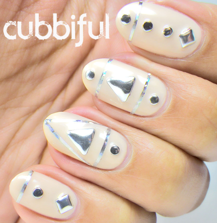 Nude Nails With Silver Studs