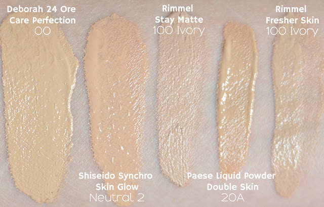 deborah 24 ore care perfection, shiseido synchro skin glow, rimmel stay matte, paese liquid powder double skin, rimmel fresher skin