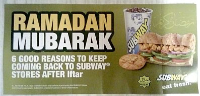Ramadan Mubarak — Subway