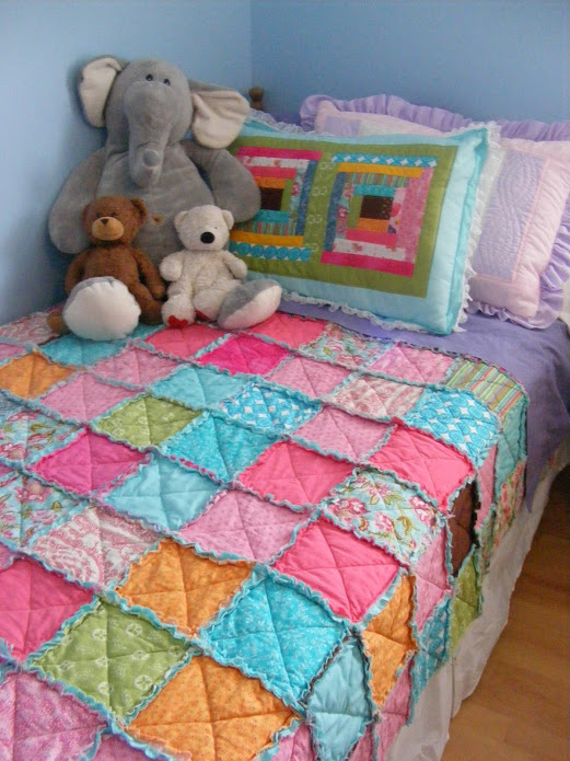 Easy, Thrifty, Pretty Rag Quilt Free Tutorial designed by Kelly Oribine of Imperfect Homemaking