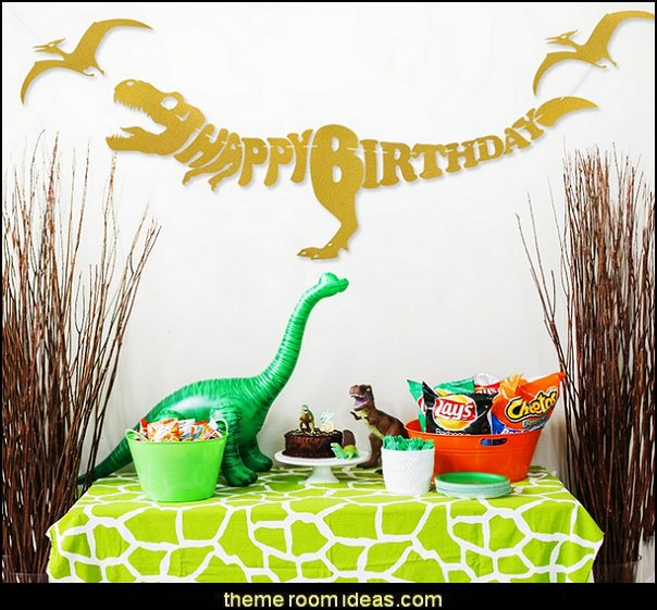 Dinosaur Dino Happy Birthday Banner -- Unique Decorations for Dinosaur Party Supplies