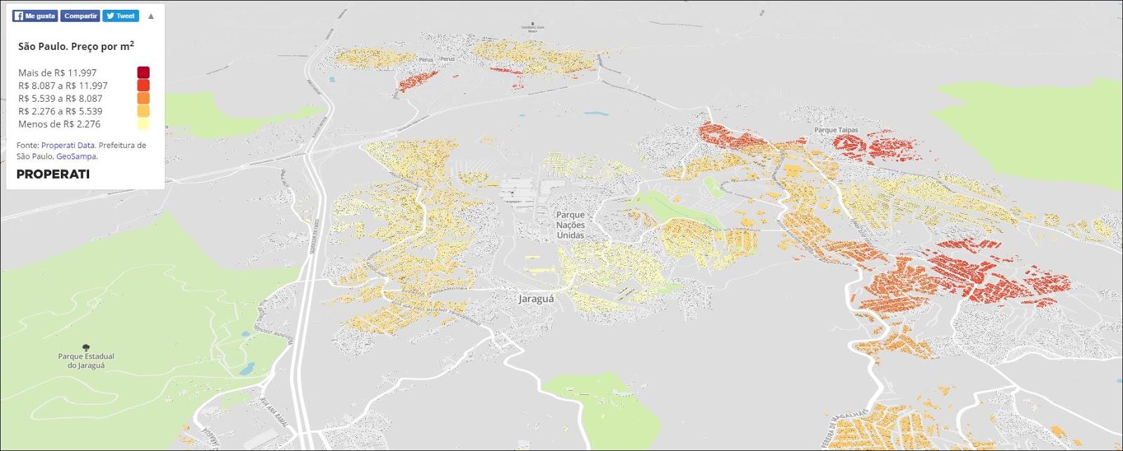Recorte do mapa online da Properati. Clique sobre o mapa para ampliar ou acesse o Mapa Interativo completo. Imagem: Properati