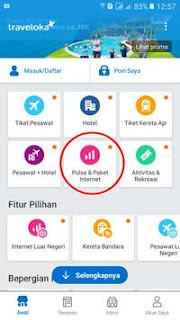 proses pembelian pulsa dan kuota data internet traveloka