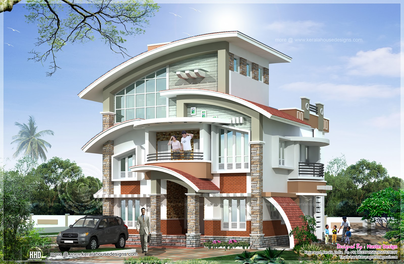 New arch type 3 storey home elevation - Kerala home design