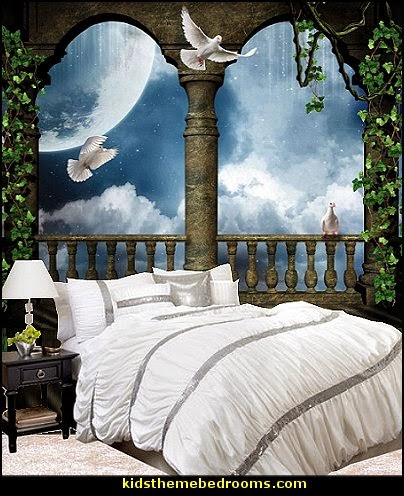 White Temptation 4-Piece Duvet Cover Set  mythology theme bedrooms - greek theme room - roman theme rooms - angelic heavenly realm theme decorating ideas - Greek Mythology Decorations - heavenly wall murals - asngel wings decor - angel theme bedrooms