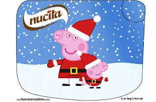 Etiqueta Nucita de Peppa Pig en Navidad para imprimir gratis.