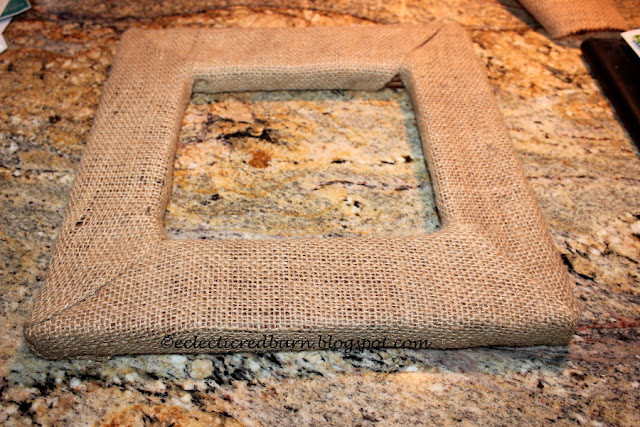 Eclectic Red Barn: Burlap wrapped frame
