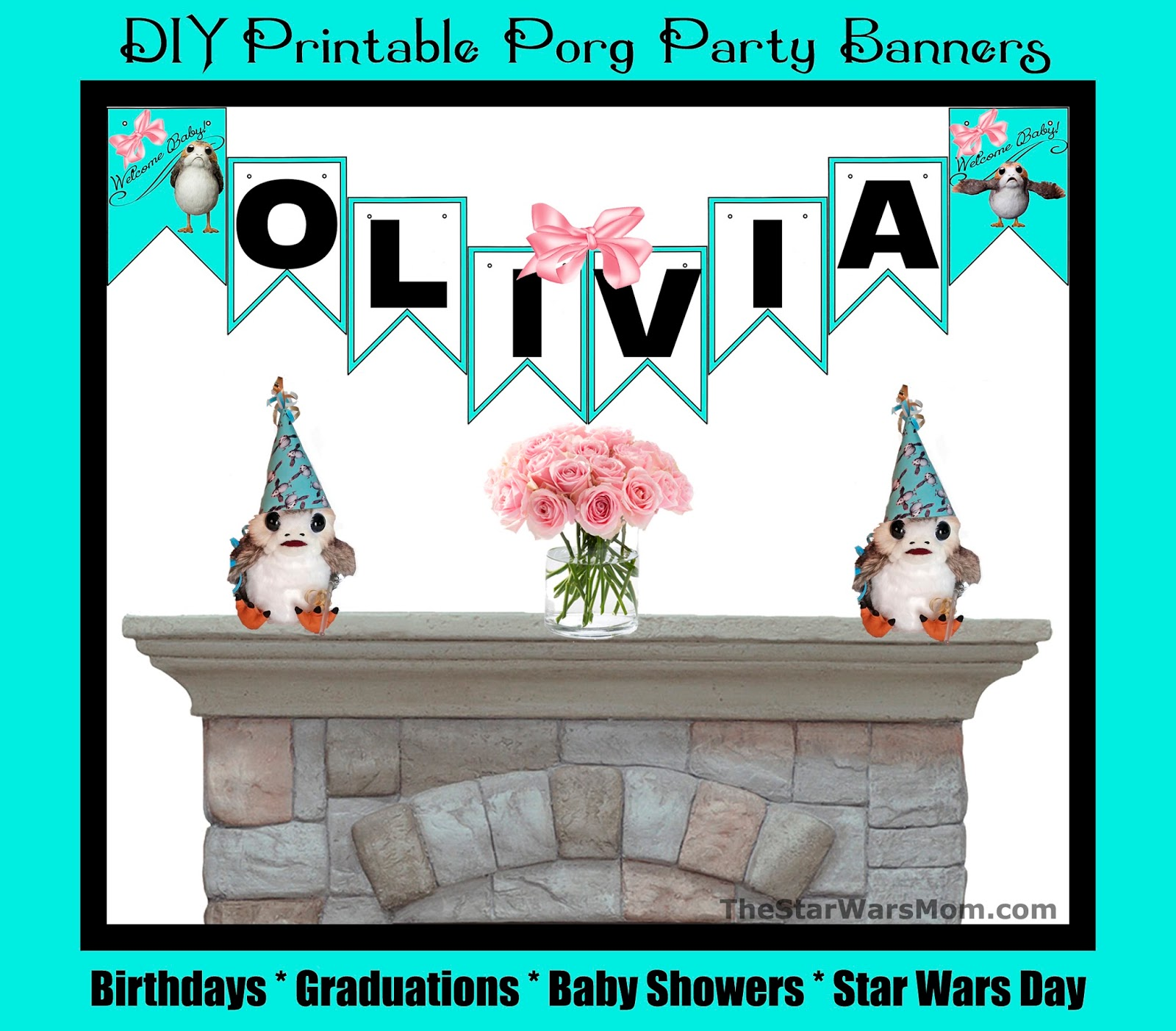 photo relating to Free Printable Birthday Banners Personalized identify Tailored Totally free Printable Porg Bash Banners For Any