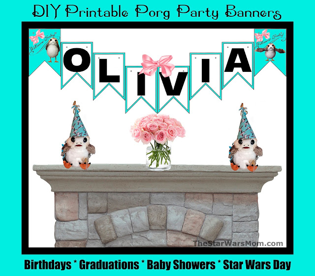 Customize and Personalize Porg Party Banners - Free Printable Star Wars Porg Party Supplies