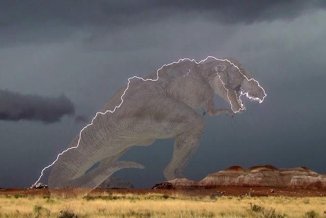 Sản phẩm của người dùng mạng xã hội cho thấy tia sét có hình ảnh như một chú khủng long.