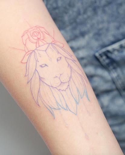 Este colorido minimalista leão